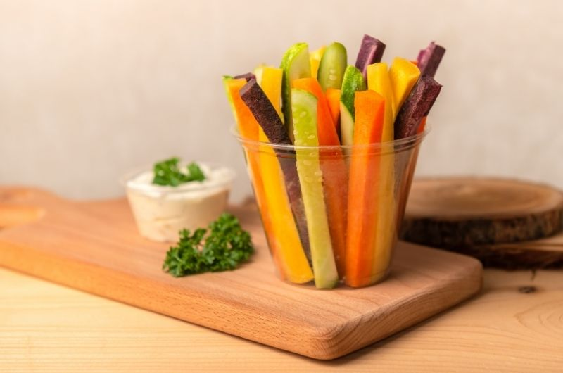 A batch of veggies cut into slices, to be eaten as a night snack.