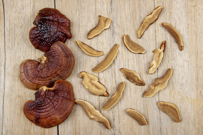 Some Reishi mushroom, also known as Lingzhi, laid out on a table.
