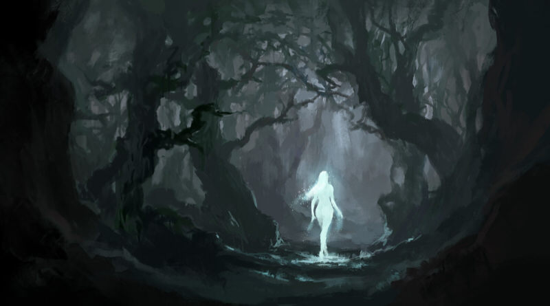 An abstract image of a glowing figure in the dark woods, representing spiritual dreams that you might have of recently deceased people.