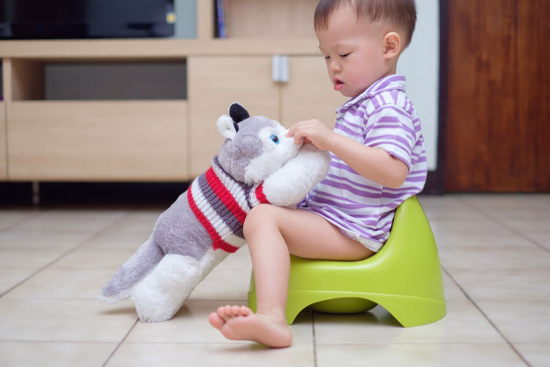 A toddler boy is sitting on a portable training potty to poop.