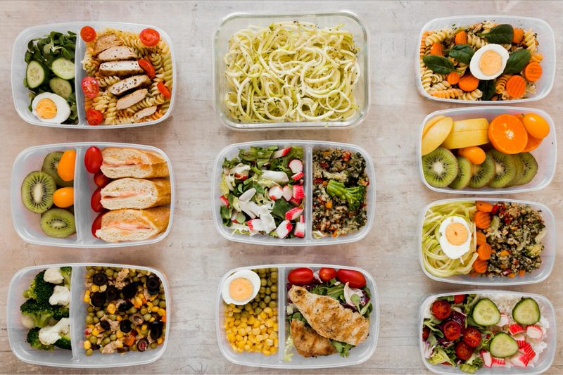 A meal plan setup with 10 containers of food for different upcoming meals.